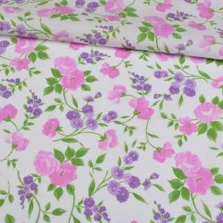 Коттон белый, розовые розы, сиреневые ромашки, ш.148 оптом