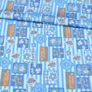 Коттон голубой в синюю полоску, бабочки, цветы, ключики, ш.148 оптом