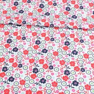 Коттон белый, розовые, красные, синие цветы, ш.146 оптом