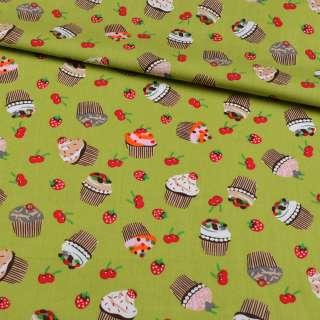 Коттон зеленый, ягоды, пирожные, ш.148 оптом