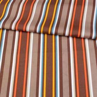 Коттон в коричневые, оранжевые, желтые, белые полоски, ш.148 оптом