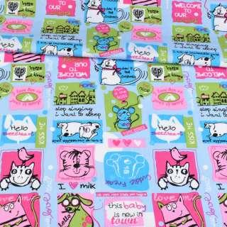 Коттон голубой, разноцветные кошки, мышки, собачки, ш.148 оптом