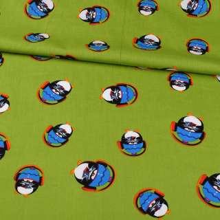 Коттон зеленый, пингвины в наушниках, ш.148 оптом