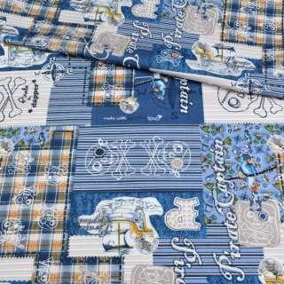 Коттон голубой в полоску, пэчворк, пираты, ш.147 оптом