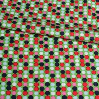 Коттон зеленый в розовый, синий, белый горох, ш.145 оптом