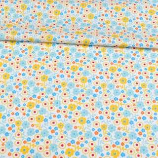Коттон белый, голубые, желтые, синие цветы, ш.143 оптом