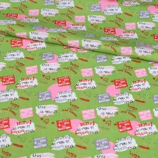 Коттон зеленый, розовые круги, сердечки, надписи, ш.148 оптом
