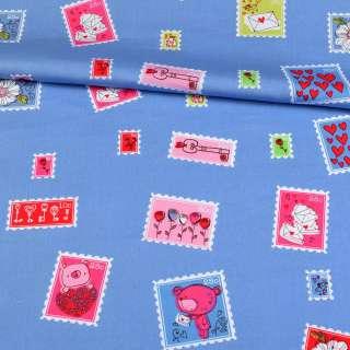 Коттон голубой, разноцветные марки, ш.148 оптом