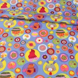 Коттон голубой, пасхальные яйца, цветы, курочки, ш.148 оптом