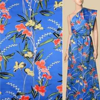 Коттон синий, кремовые, красно-оранжевые цветы, ш.140 оптом