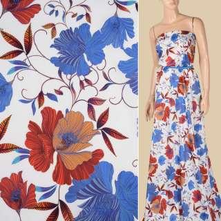 Коттон білий, сині, оранжево-жовті квіти, ш.145 оптом