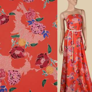 Коттон красный в желтые, розовые, бордовые цветы, ш.150 оптом