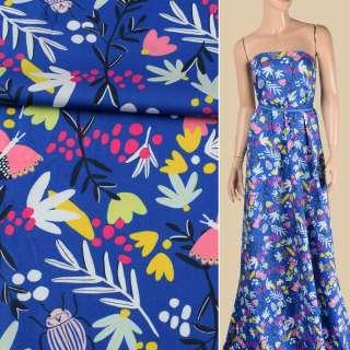 Коттон синий, розовые бабочки, жуки, белые, желтые цветы, ш.147 оптом