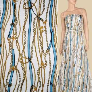 Коттон белый, синие ремни, золотистые шнуры, цепи, ш.143 оптом