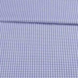 Коттон жаккардовый белый в голубую клетку ш.155 оптом