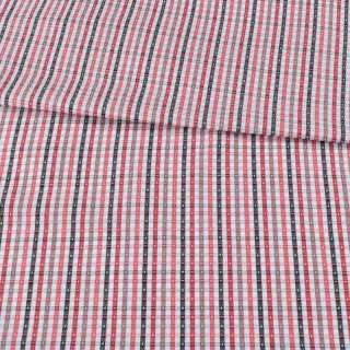 Коттон жаккардовый белый в черную, красную клетку ш.155 оптом