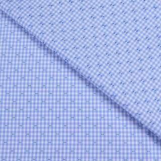 Коттон жаккардовый белый в голубую клетку и штрихи ш.147 оптом