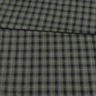 Коттон зеленый в черно-белую клетку ш.150 оптом