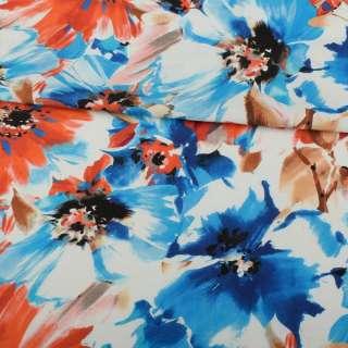 Лен белый, сине-голубые, оранжевые цветы, ш.137 оптом