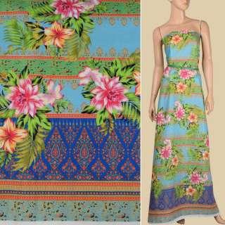 Льон блакитний, кольорові смужки з орнаментом, тропічні квіти, 1-ст.купон, ш.140 оптом