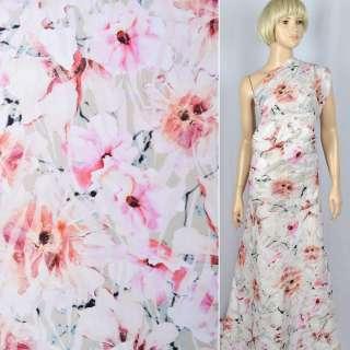 """Лен """"Apanage""""оливковый в бело-розовые цветы ш.140 оптом"""