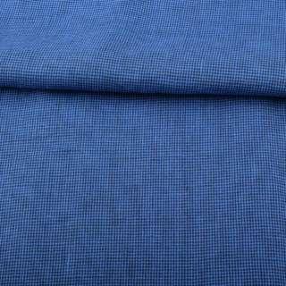Льон синій в дрібну темно-синю клітку ш.150 оптом