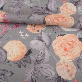 Лен серый, акварельные персиковые и серые цветы, ш.142 оптом