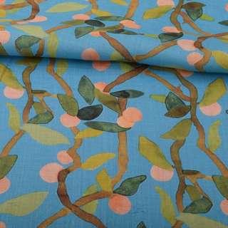 Лен голубой, ветви с абрикосами и зелеными листьями, ш.140 оптом