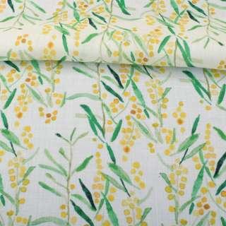 Лен белый, акварельные желтые цветочки, зеленые листья, ш.140 оптом
