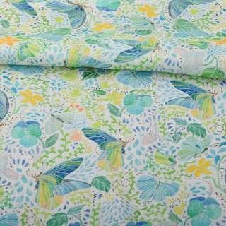Лен белый, салатово-голубые бабочки, зеленые листья, оранжевые цветы, ш.140 оптом