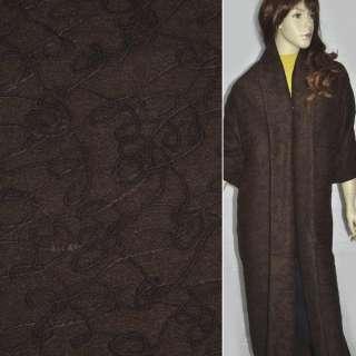 ткань пальт.темно-коричневая с темно-коричневой вышивк оптом
