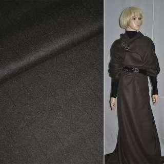 ткань пальтов.темно-коричн.в уз.черн.полос, ш.148 см оптом