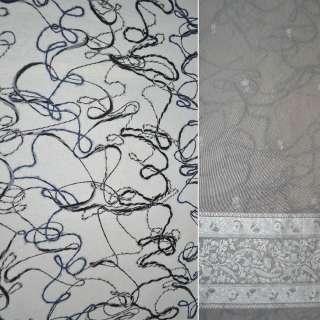 Ткань пальтовая молочная с нашитыми разноцветными нитями, ш.147 оптом