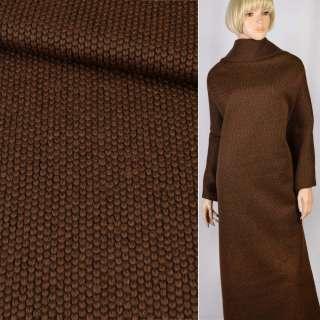 """Трикотаж пальтовый """"GERRY WEBER"""" коричневый крупная вязка, ш.155 оптом"""