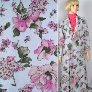 """Лоден """"Luna Cotta Drack"""" голубой с розовым цветочным принтом ш.140 оптом"""