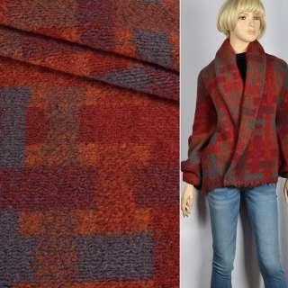 "Лоден ""Woolle Flausch""коричнево-красно-серый геометрический узор ш.145 оптом"