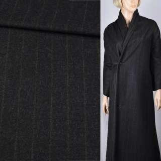 Шерсть пальтовая черная в тонкую коричневую полоску, ш.150 оптом
