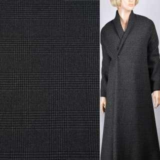 Кашемир пальтовый серый в черную клетку, ш.155 оптом