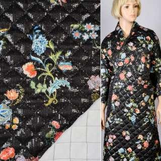 Коттон-атлас с пайетками черный в цветы стеганый с синтепоном, ш.139 оптом
