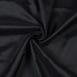 Вискоза жаккардовая подкладочная черная с подковками матовая, ш.130 оптом