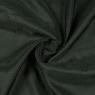 Вискоза жаккардовая подкладочная зеленая темная с подковками, ш.130 оптом