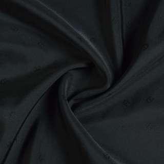 Вискоза жаккардовая подкладочная черно-серая с подковками, ш.135 оптом