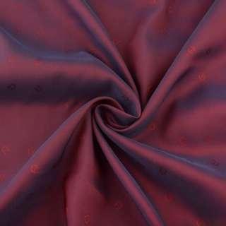 Вискоза жаккардовая подкладочная бордово-синяя с подковками, ш.140 оптом