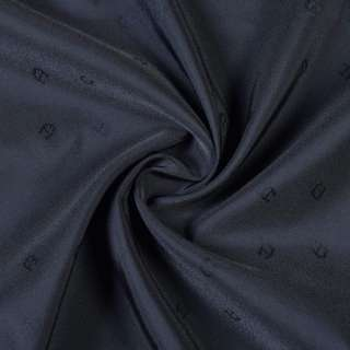 Вискоза жаккардовая подкладочная черно-синяя с подковками, ш.130 оптом