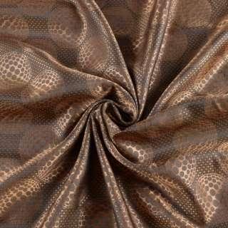 Вискоза подкладочная коричневая в узорчатые круги, ш.142 оптом