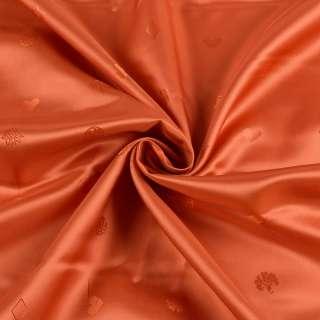 Вискоза подкладочная оранжевая темная в мелкие цветы, ромбы, ш.140 оптом