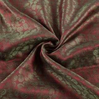 Вискоза подкладочная бордовая в оливковые огурцы, ш.143 оптом