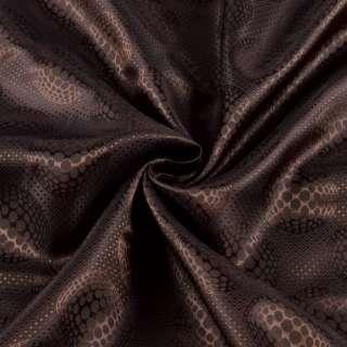 Вискоза подкладочная коричневая в узорчатые круги, ш.140 оптом