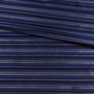 Віскоза підкладкова синя в чорну, сіру смужку, ш.142 оптом