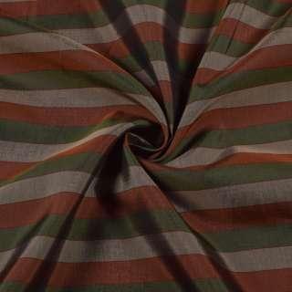 Вискоза подкладочная в бежевую, зеленую, коричневую полоску, ш.142 оптом